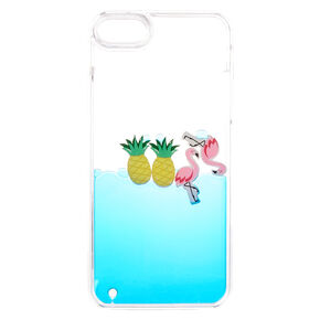 Floating Flamingo and Pineapple Liquid Fill Phone Case,