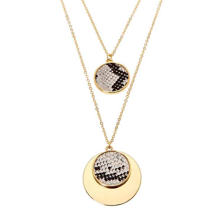 Snake Skin Medallion Long Chain Necklace,