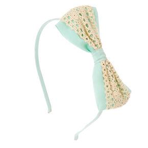 Mint Crochet Bow Headband,