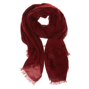Solid Burgundy Waffle Style Blanket Scarf,