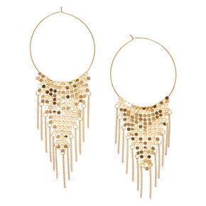 Gold-tone Triangular Mesh Hoop Earrings,