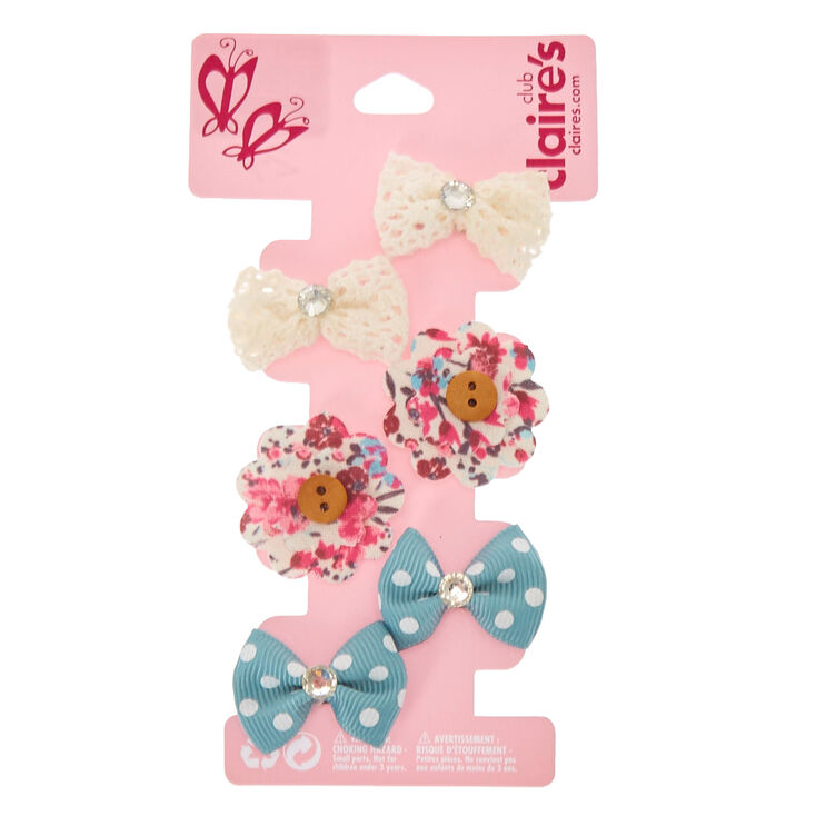 6 Pack Crochet Bow and Flower Mini Hair Clips