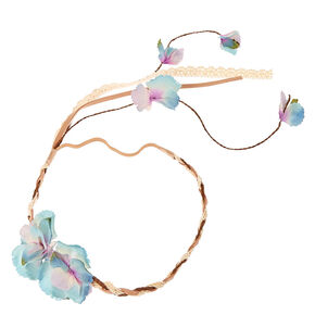 Blue Ombre Flower Braided Headwrap with Tail,