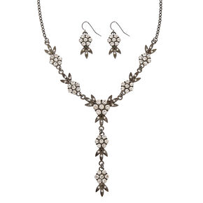 Black Floral with Faux Rhinestone Necklace and Earring Set,