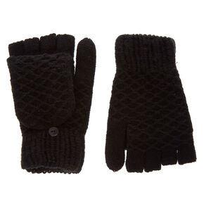 Black Textured Touch Screen Fingerless Gloves with Mitten Flap,