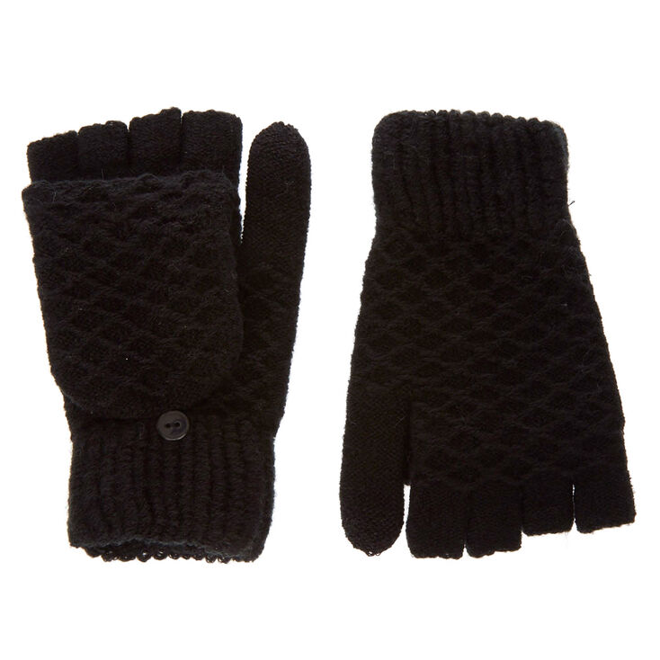 Black Textured Touch Screen Fingerless Gloves with Mitten Flap at Icing in Victor, NY | Tuggl