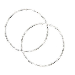 Silver-tone Laser Cut Clip-on Hoop Earrings,