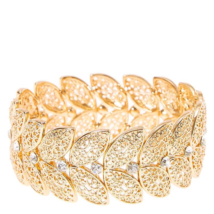 Gold Toned Leaf Stretch Bracelet,