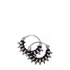 Tiny Black and Silver Spike Hoops,