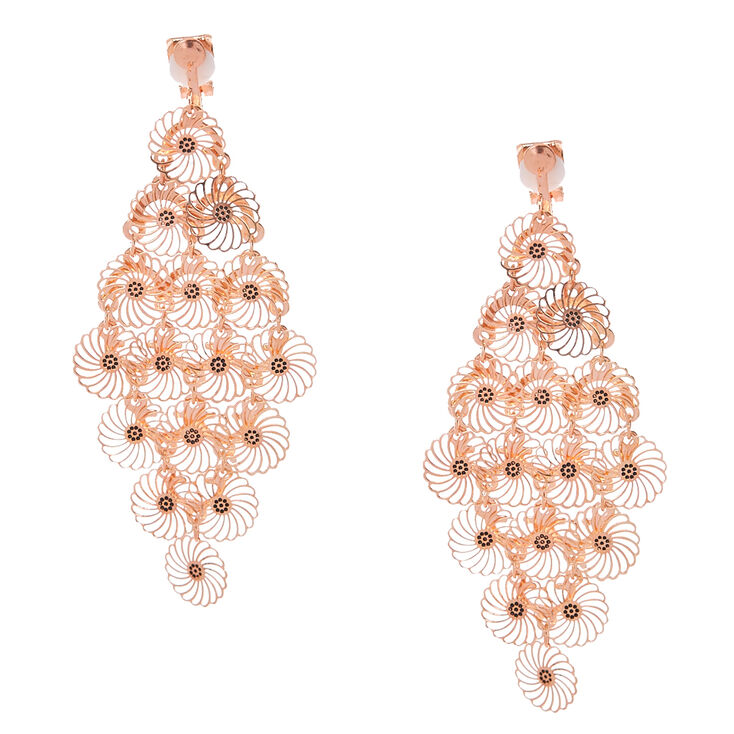 Rose Gold-tone Filigree Flower Clip-on Chandelier Drop Earrings ...