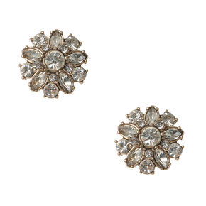 Vintage Gold and Crystal Flower Stud Earrings,