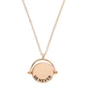 Gold-Tone LOVE ME FOREVER OR NEVER Double Sided Flip Necklace,
