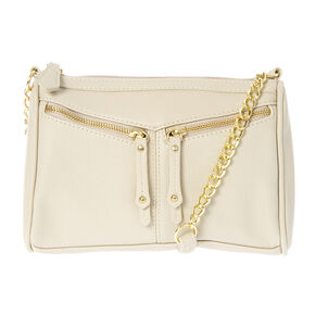 Darien Ivory Faux Leather Crossbody Bag with Double Zipper Front,