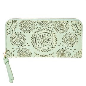 Mint Faux Leather Perforated Mandala Wallet,