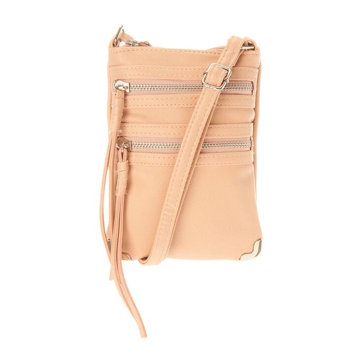 Tan and Silver Crossbody Bag,
