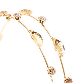 Gold Leaf and Crystal Double Row Skinny Headband,