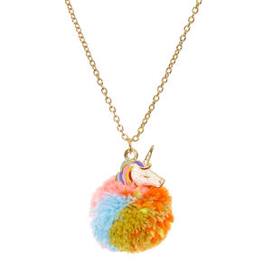 Unicorn Pom Pendant Necklace,