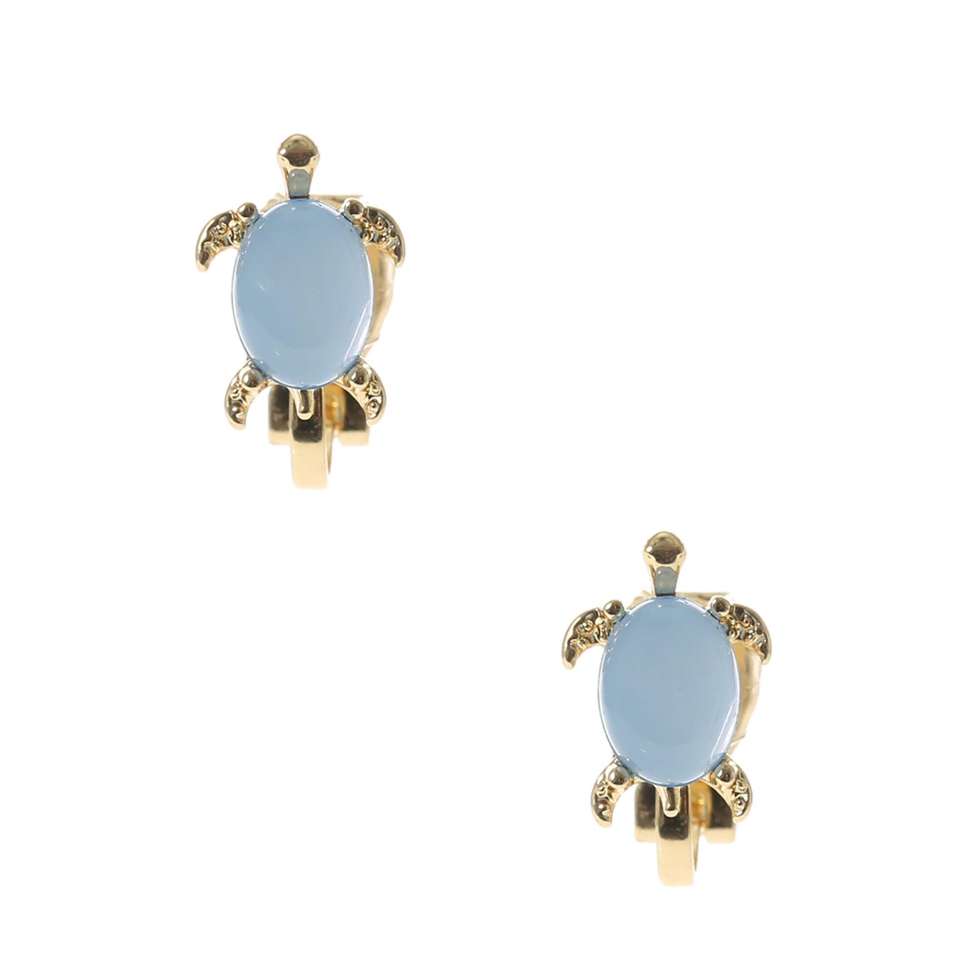 Gold Turtle Clip On Earrings,