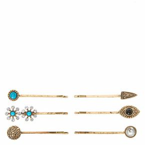 Burnished Gold Stone and Charm Bobby Pins,