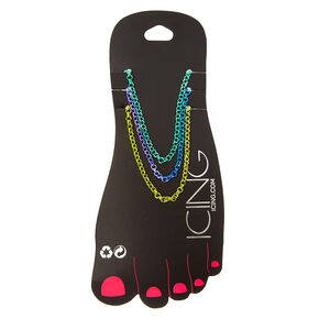 3 Pack Bright Metallic Ombre Chain Anklets,