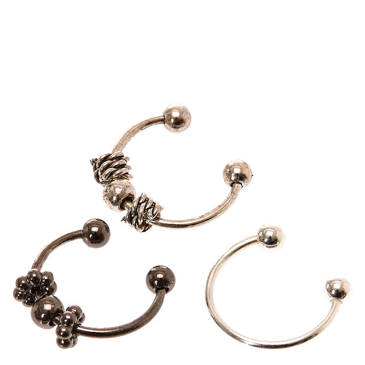 Faux Beaded Nose Hoop Rings Set of 3,