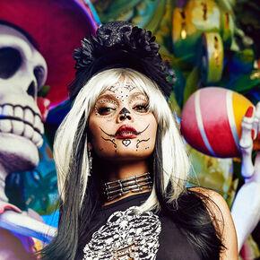 Large Black Skull Headband,