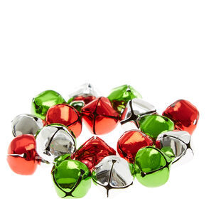 Red, Green and Silver Sleigh Bells Bracelet,