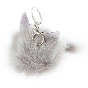 Grey Cat Pom Keychain,