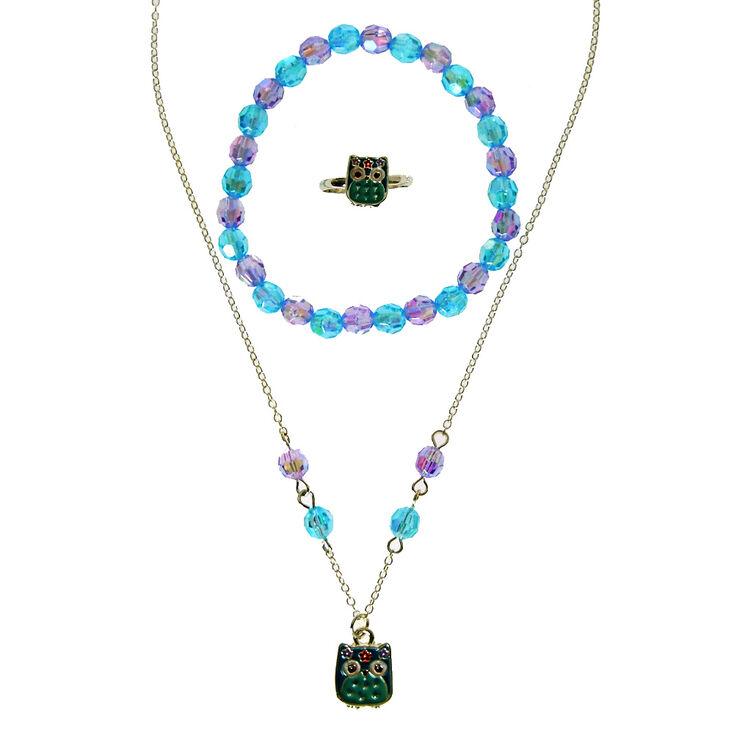 ensemble de bijoux pour enfant avec pendentif de chouette violette et bleue claire 39 s fr. Black Bedroom Furniture Sets. Home Design Ideas