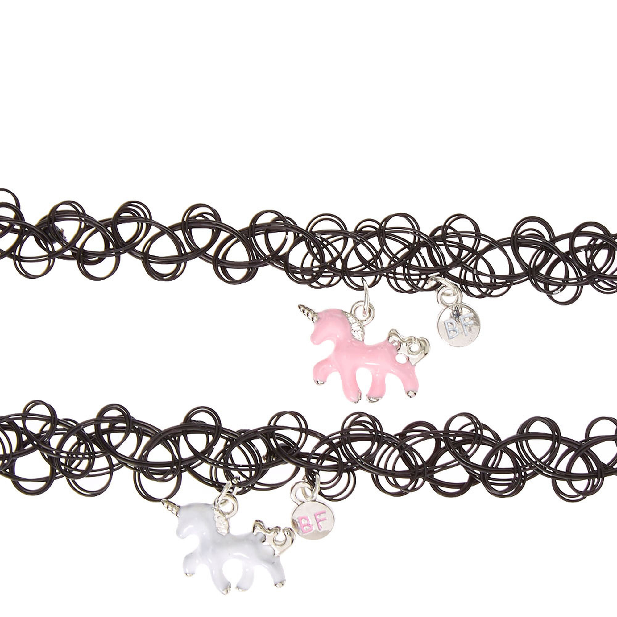 Best Friends Unicorn Pendant Black Tattoo Choker Necklaces Claire s CA