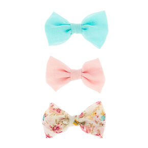 Mini Pastel and Floral Print Bow Hair Clips,