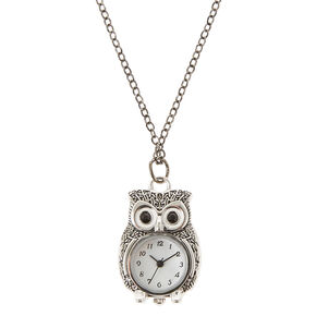 Long Owl Clock Necklace,