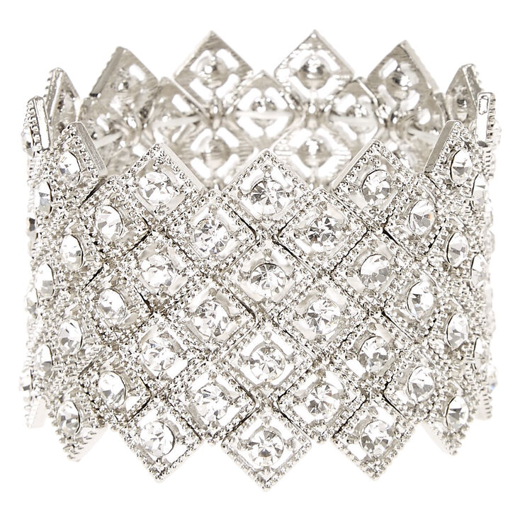 Faux Crystal Art Deco Statement Bracelet,