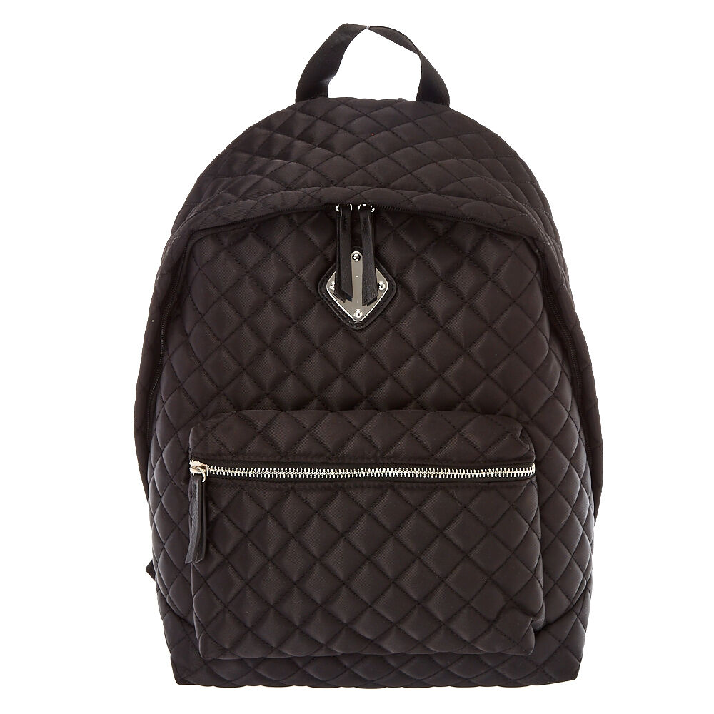 black quilted oversized backpack