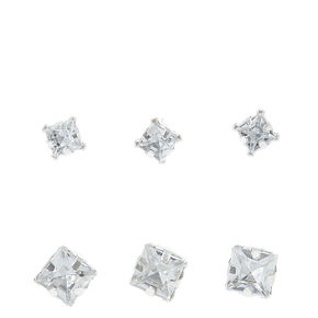 Graduated Silver-tone Square Glass Stone Stud Earrings,