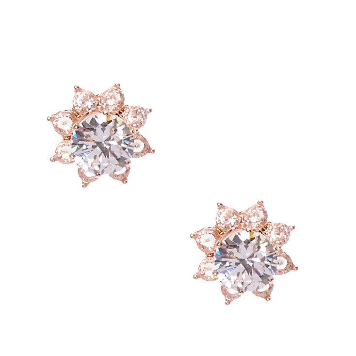 Rose Gold-tone Crystal Flower Front and Back Stud Earrings,