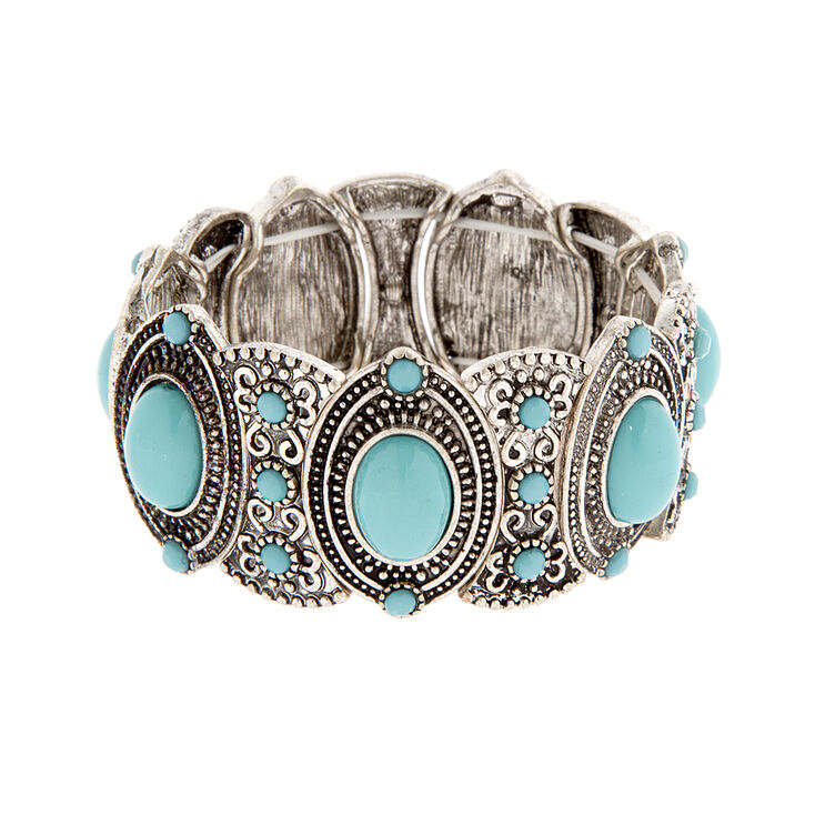 Ornate Antique Silver and Turquoise Ovals Stretch Bracelet,