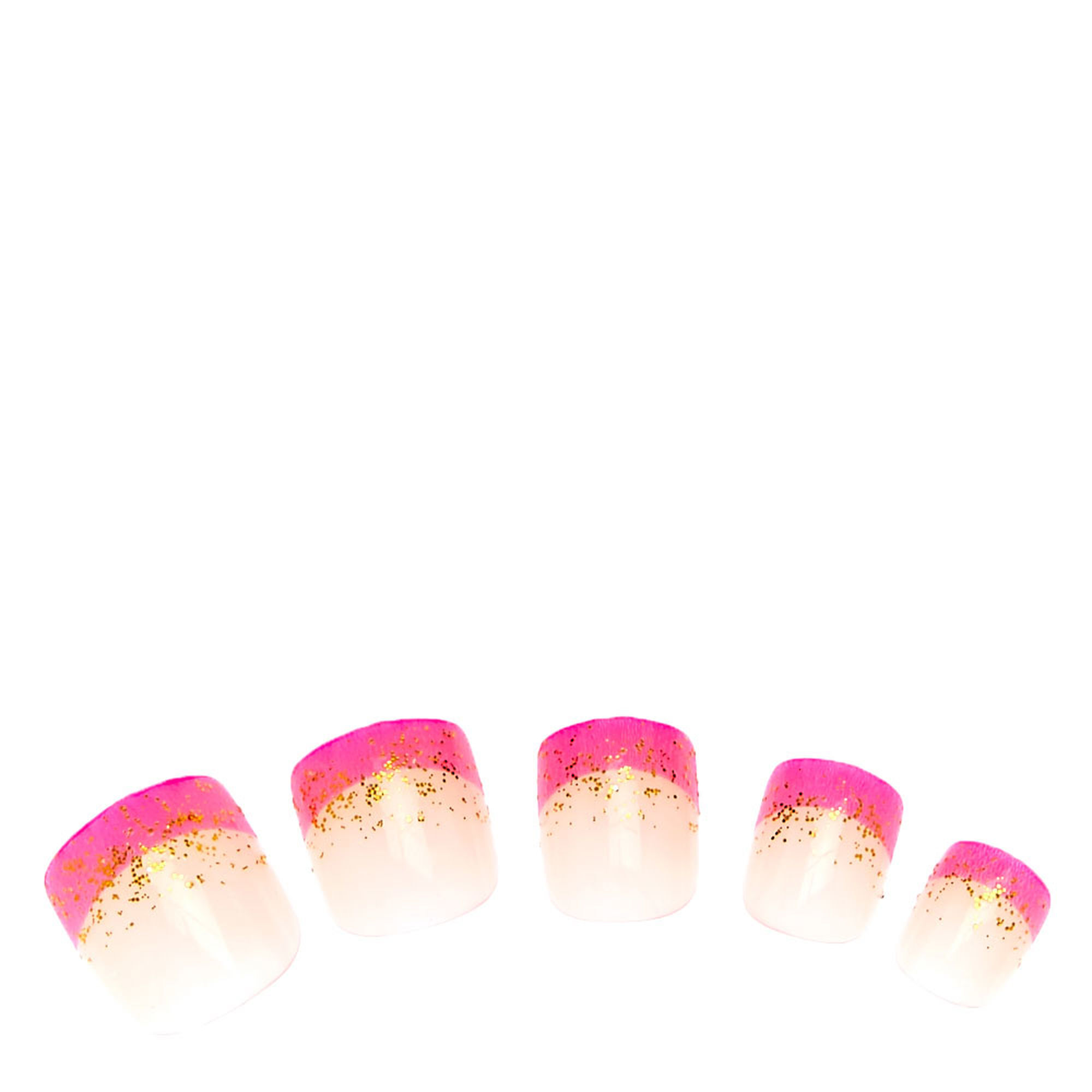 Popular fashion nails uxbridge - Gold Glitter Pink French Tip Press On Faux Nails