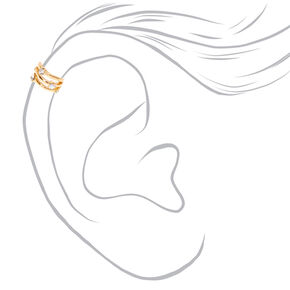 Gold-tone Triple Bar Iridescent Faux Crystal Ear Cuff,