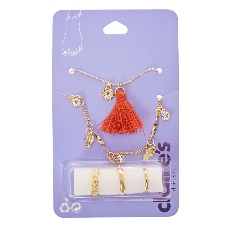 Hamsa Tassel Charm Anklet & Toe Ring Set,