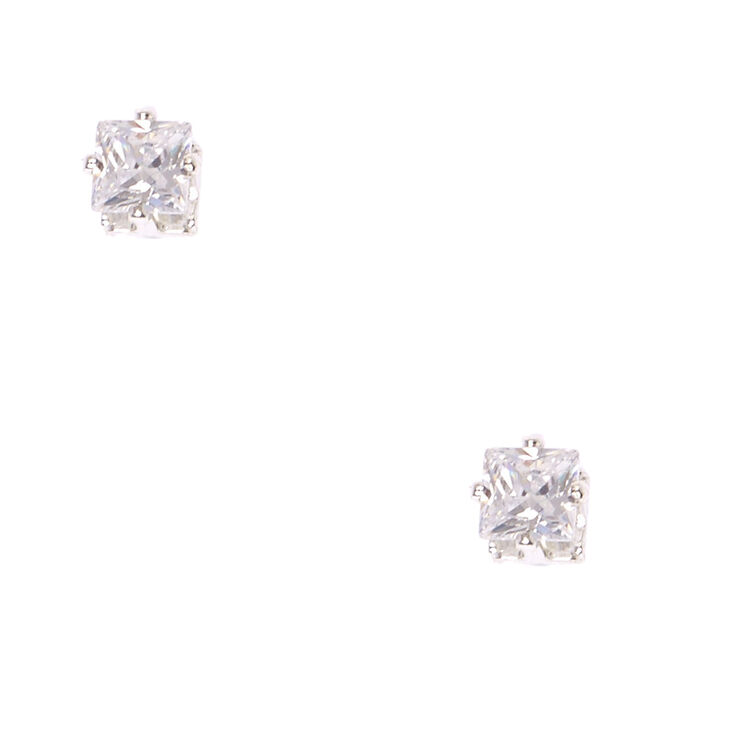 5mm Square Cut Cubic Zirconia Magnetic Stud Earrings,