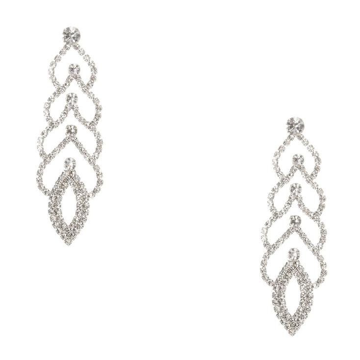 Crystal Scalloped Drop Earrings,