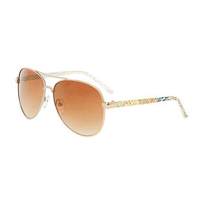 Gold Aviator Sunglasses With Gold Print,
