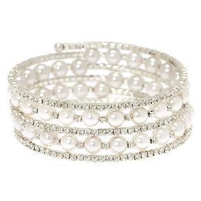 Rhinestone and White Pearl Coil Bracelet,