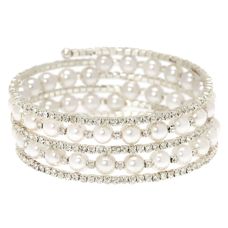Rhinestone and White Pearl Coil Bracelet,