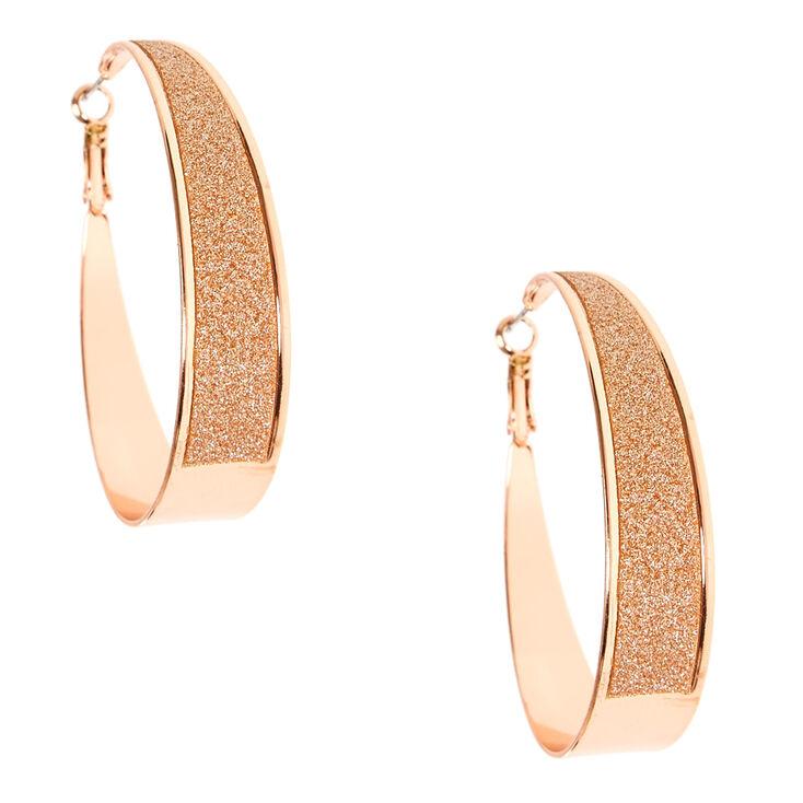 Rose Gold-tone Glitter Wide Bottom Hoops,