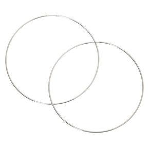 100MM Skinny Silver-tone Hoop Earrings,