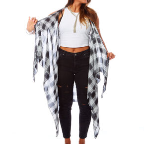 Sheer Black and White Plaid Shawl,