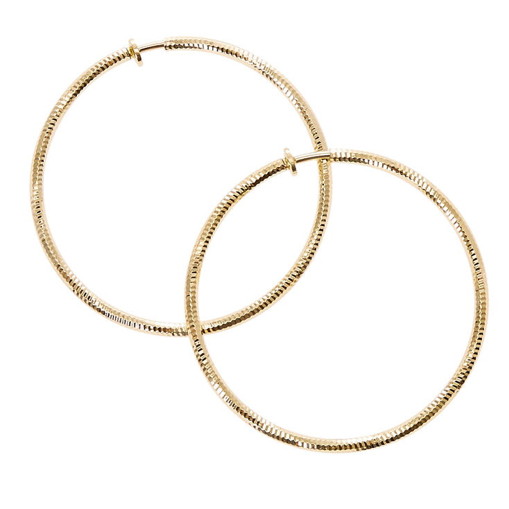 Laser Cut Gold-tone Spring Clip Hoop Earrings,