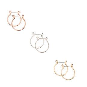 Mixed Metal Stud and Mini Hoop Earrings,
